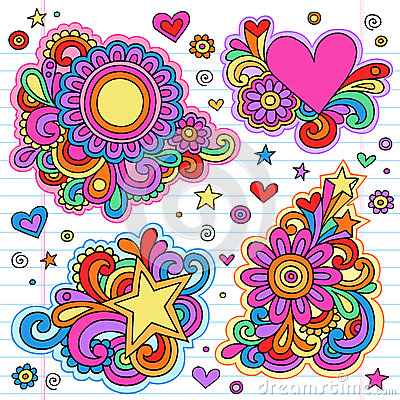 Groovy Notebook Doodle Frames Vector Designs