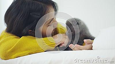 Grosse fille asiatique jouant avec un chaton mignon, jolie fille tenant un chat à l'intérieur banque de vidéos