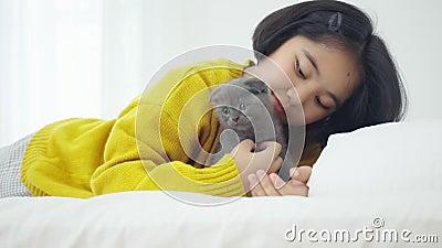 Grosse fille asiatique jouant avec un chaton mignon, jolie fille tenant un chat de près banque de vidéos