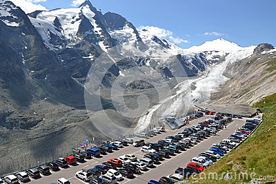 Grossglockner car park Editorial Stock Image