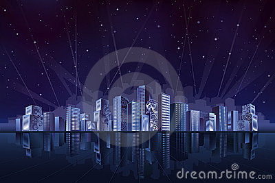 Grote fantastische stad bij nacht