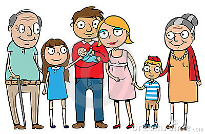 Grote gelukkige familie