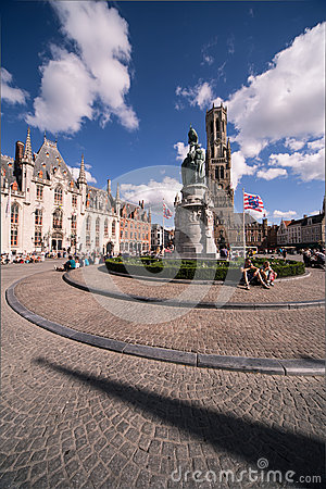 Grote Markt, Bruges Redaktionell Arkivfoto