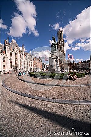 Grote Markt, Brugge Redactionele Stock Foto