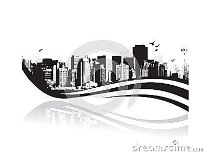 Grote Stad - Grunge gestileerde stedelijke achtergrond. Vector