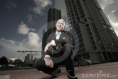 Ground angle view of a man downtown