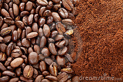 Ground coffee and beans in closeup