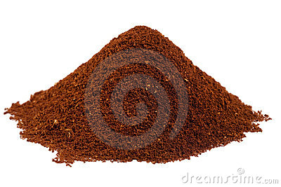 Ground coffee beans in a  pile
