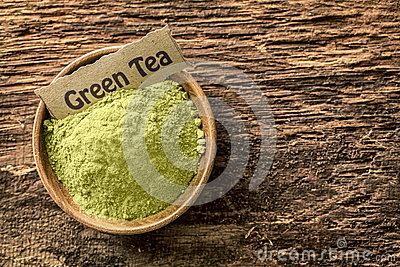 Ground green tea powder