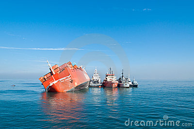 Grounded ro-ro vessel Jolly Amaranto Editorial Photography