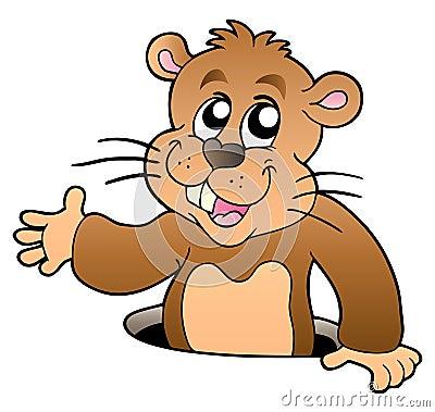 Groundhog dos desenhos animados que espreita do furo