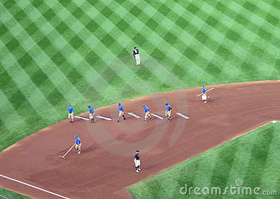 Grounds Crew at Baseball Game Editorial Photography