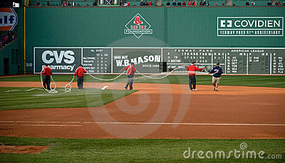 Grounds Crew at Red Sox Opening Day Editorial Stock Image