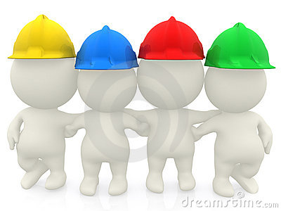 Group of 3D construction workers