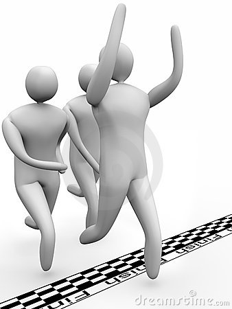 Group of 3D men reaching the finish line