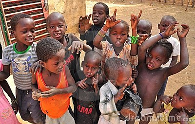 Group of african children singing Editorial Stock Photo