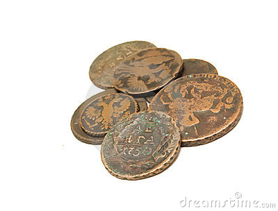 Group of age-old coins