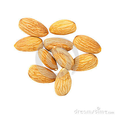 Group of almond isolated on white background