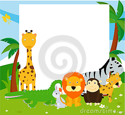 Group of animals and frame