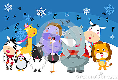 Group of animals singing