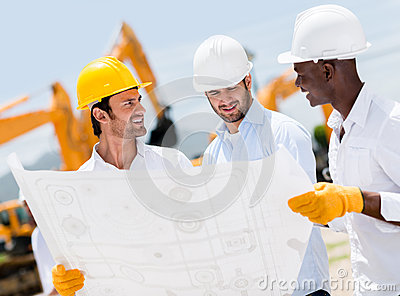 Group of architects at a construction site