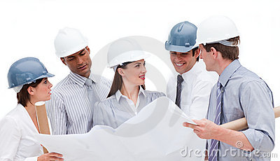Group of architects discussing a construction plan