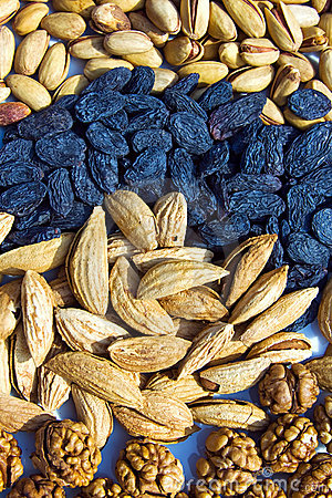 Group of asian dry fruits and nuts