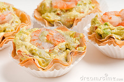 Group of avocado and shrimp canapes