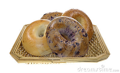 Group of bagels in basket