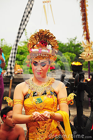 Group of Balinese dancers perform mythological drama
