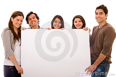 Group with a banner ad