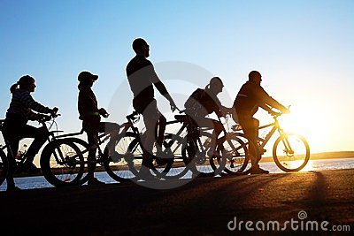 Group on bicycles