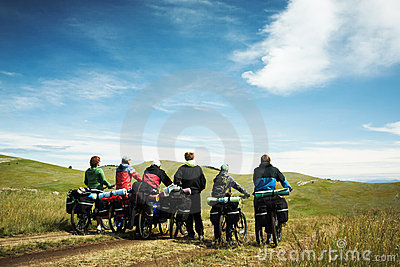 Group of bicyclists going on road Editorial Image