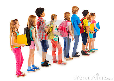 Group Of Boys And Girls Standing In The Line Stock Photo ...