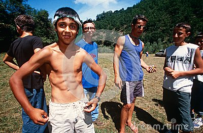 A group of boys in Kosovo. Editorial Stock Image