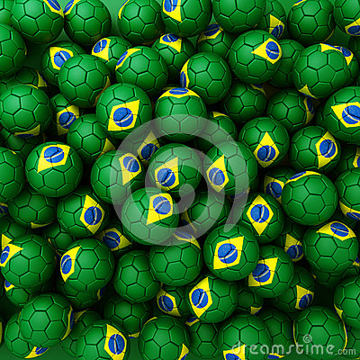 Group of Brazil football balls. 3D render background