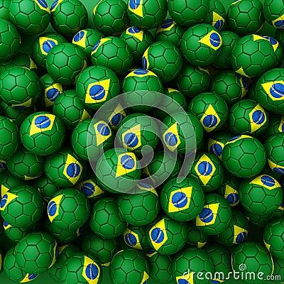 Group of Brazil football balls. 3D render background