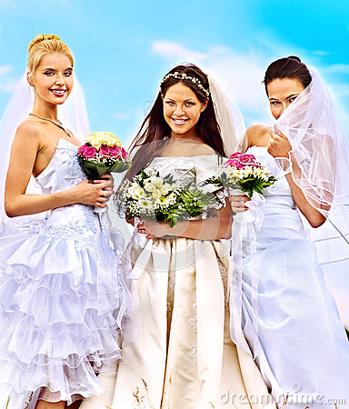 Group bride  summer outdoor.