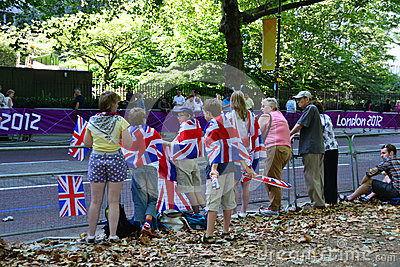 Group of British fans awaiting for the athlets Editorial Stock Photo