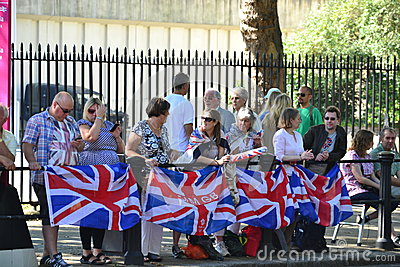 Group of British fans awaiting for the athlets Editorial Photo