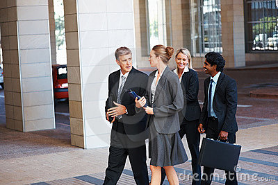 Group of business colleagues walking