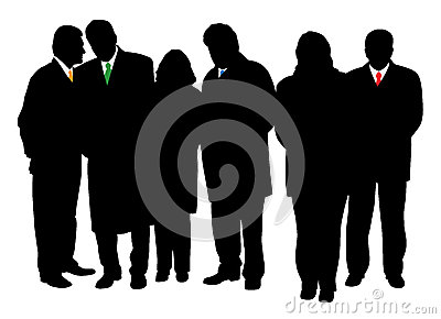 Group of business people in winter coats