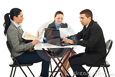Group of business people in a cafe shop