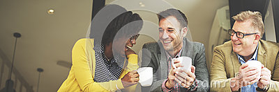 Group Business People Chatting Coffee Break Concept Stock Photo