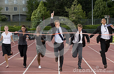 Group of Business People Crossing the Finish Line