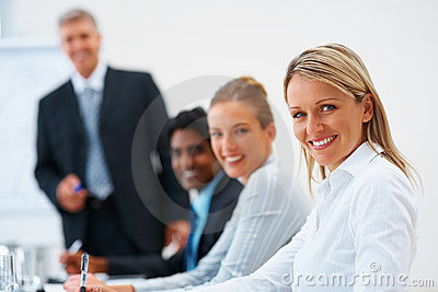 Group of business people smiling confidently