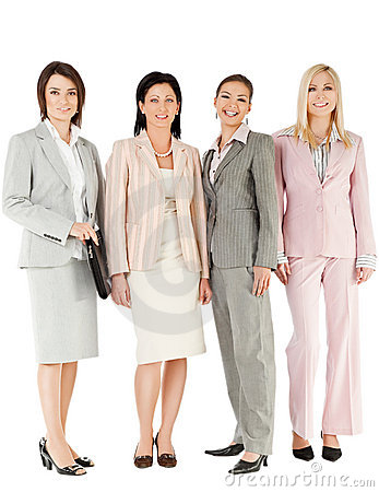 Group businesswomen standing