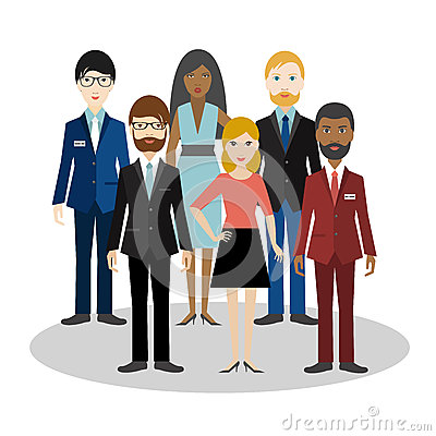 Group of bussiness people. Cartoon avatar. Vector Illustration