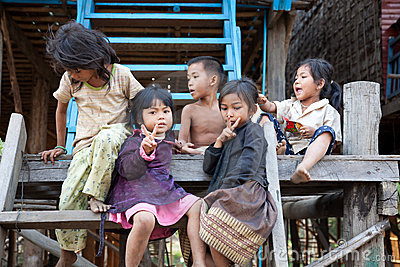 Group of Cambodian kids Editorial Stock Photo