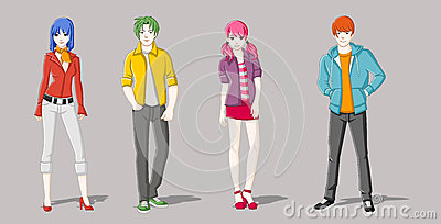 Group of cartoon young people. Vector Illustration